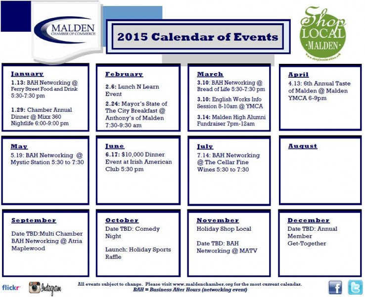 2015 Calendar of Events